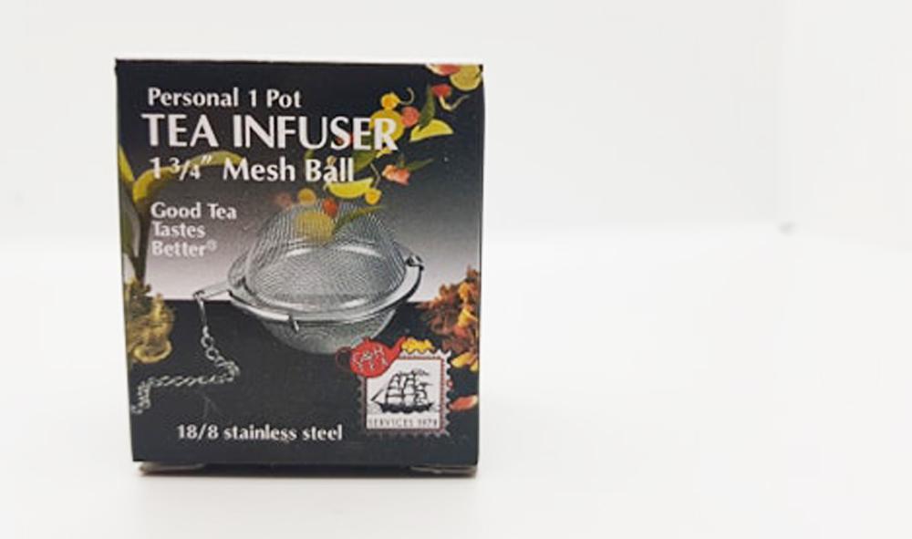 mesh tea infuser inside original box packaging