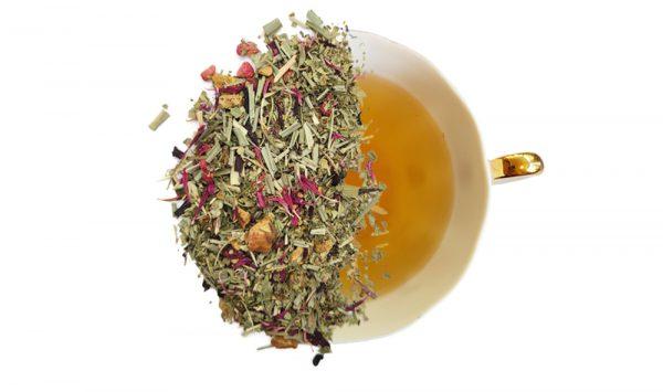 Product image of raspberry lemon loose leaf displayed over half of cup of brewed tea