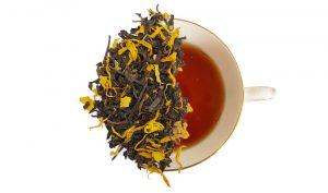 capuccino creme brûlée tea leaves displayed over a cup of tea